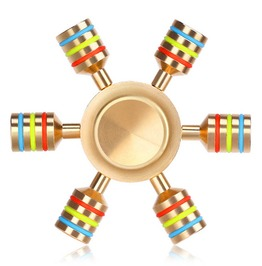 6 Rainbow Brass Metal Fidget Spinner Add Adhd Autism Stress Reliever Toys