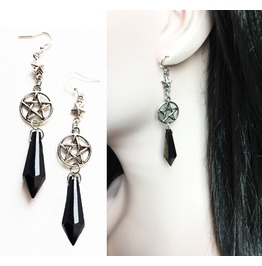Gothic Witch Wiccan Pentagram Earrings With Black Beads