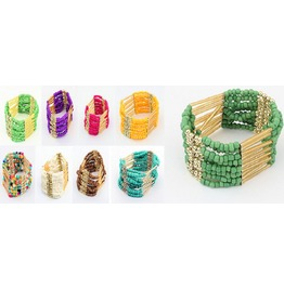 Bohemian Multilayers Gold Tassel Rice Beads Island Luxury Boho Bracelet