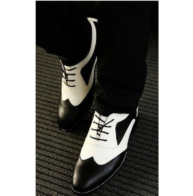 Handmade Mens Spectator Shoes Men Black And White Lace Rebelsmarket
