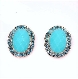 Vintage Navy Blue Rimmed Rhinestone Turquoise Gemstone Oval Stud Earrings