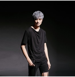 Fashion Mens Black T Shirt Side Lace Up Casual T Shirts