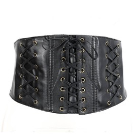 7a657150ba Sexy Vintage Synthetic Leather Lace Up Bodycon Corset Belt