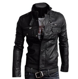 Punk Rock Motorcycle Biker Slim Pockets Zipper Pu Leather Jacket