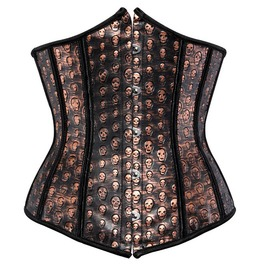 Faux Leather Sexy Brown Underbust Corset With Skull Print Detail Plus Size