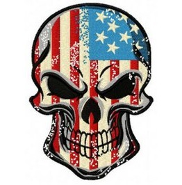 Embroidered Patriotic American Skull Patch Iron/Sew On 5 Sizes Available