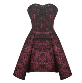 Womens Gothic Overbust Evening Corset Dress With Floral Patterns Plus Size