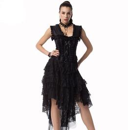 Women's Vintage Victorian Burlesque Corset Dress Dance Costume Plus Size