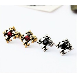 Chic Vintage Retro Antique Bronze Silver Gemstone Cross Star Stud Earrings