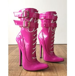 "Maid 2 18cm 7"" Stiletto Fetish 2 Buckle Strap Patent Hot Pink Calf Boots"