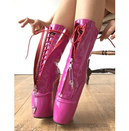 Keep Calf Hi Ballet Wedge Ykk Zip Lockable Heelless Fetish Pinup Hot Pink