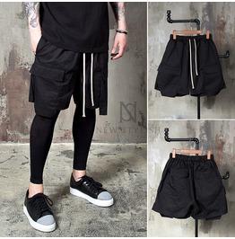 Layered Cargo Pocket Black Drawcord Shorts 73