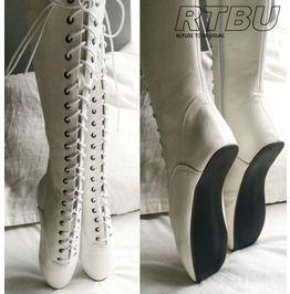 "7"" Ballet Fetish Heelless Tip Toe Pinup Bdsm 36cm Knee Hi Laceup Boots"