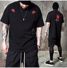 Red Rose Embroidered Boxy T Shirts 720