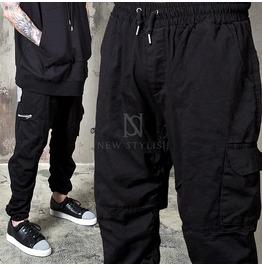 Wrinkled Black Cargo Pocket Sweatpants 264
