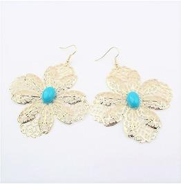 Big Gold Leaf Butterfly Flowers Turquoise Gemstone Drop Dangle Earrings