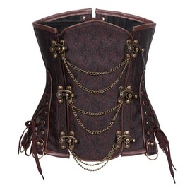 Steampunk Underbust Corset With Front Metal Chain Buckle Plus Size