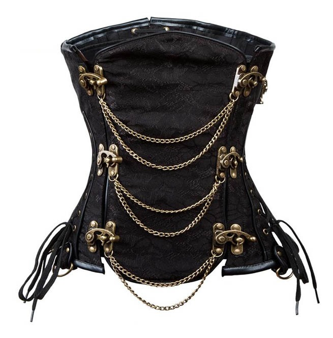 Steampunk Underbust Corset With Front Metal Chain