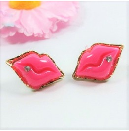 Sexy Fashion Retro Kissable Rhinestone Pink Lip Gold Plated Stud Earrings