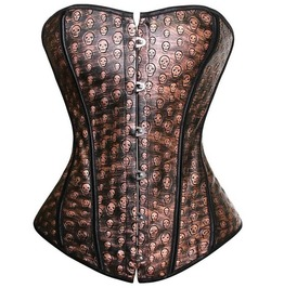 Faux Leather Sexy Brown Overbust Corset With Skull Print Detail Plus Size
