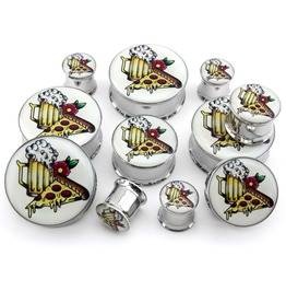 Pizza & Beer Tattoo Steel Plugs / Gauges (00 Gauge Up To 1 Inch)