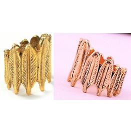Fashion Punk Retro Antique Bronze Gold Plated Leaf Feather Style Rings