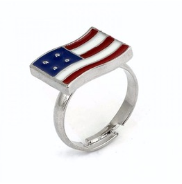 Silver Plated American National U.S.A. Flag Adjustable Ring