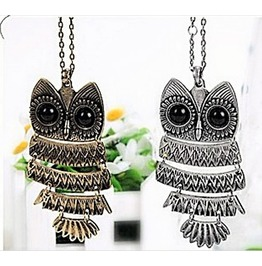 Fashion Retro Vintage Style Owl Long Chain Pendant Necklaces