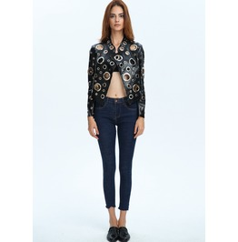 Sexy Punched Holes Long Sleeves Faux Leather Short Jacket