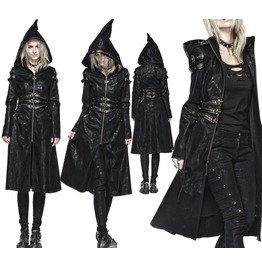 Women Vintage Gothic Long Hooded Steampunk Trench Fashion Denim Overcoat