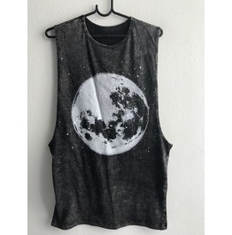 Moon Punk Rock Stone Wash Vest Tank Top M