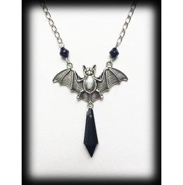 Vampire Bat Gothic Necklace With Black Bead