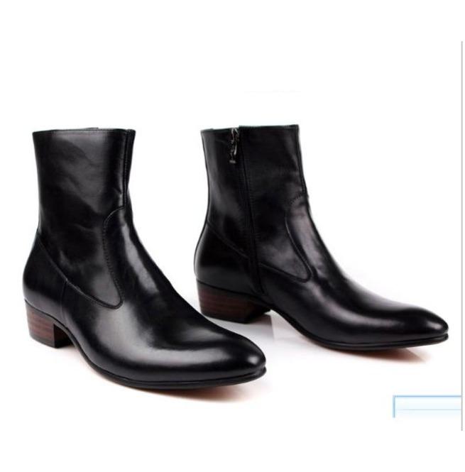 c70b6173375 Handmade Men Black Ankle Leather Boot, Mens Side Zipper Boot, Mens Boot