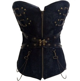Brocade Chain Buckled Black Vintage Steel Boned Overbust Corset