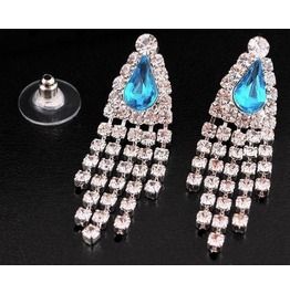 Clear Silver Crystal Rhinestone Turquoise Gemstone Teardrop Tassel Earrings