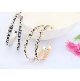 Bohemian Leopard Print Stripe Silver Gold Hoop Circle Piercing Earrings