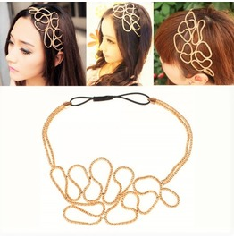 Stylish Vintage Fashion Retro Gold Braid Metallic Elastic Stretch Headband