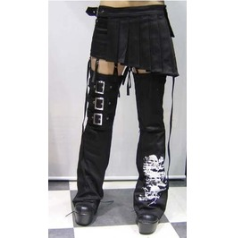 Punk Rave Women's Skull Printed Bell Bottoms With Pleated Skirt K013