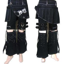 Punk Rave Women's Skull Printed Bell Bottoms With Trouser Legs/Skirt K031