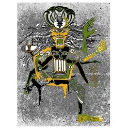 "Narasimha Avatar Indian Mythology 24""X18"" Art Print, Scorpion Mask Rave Art"