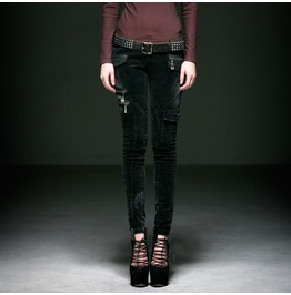 Punk Rave Women's Gothic Corduroy Slim Fitted Pants K197