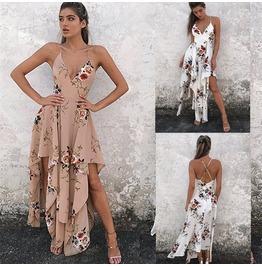 Summer Cocktail Beach Dress Long Maxi Sleeve Sundress