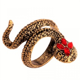 Punk Rock Exotic Vintage Retro Red Crystal Antique Bronze Snake Ring