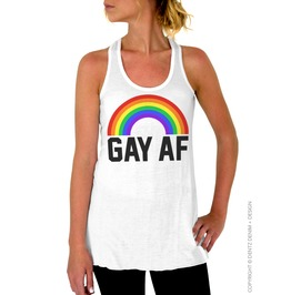Gay Pride Shirt, Gay Af, Rainbow Women's Flowy Racerback Tank Top Shirt