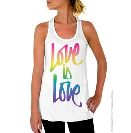 Gay Pride Top, Script Love Is Love, Rainbow Women's Flowy Tank Top Shirt