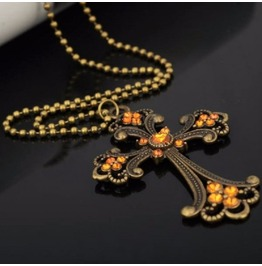 Punk Rock Vintage Bronze Crystal Cross Long Chain Crucifix Pendant Necklace
