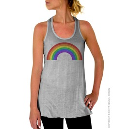 Gay Pride Clothing, Rainbow, Women's Flowy Racerback Tank Top Tee Shirt