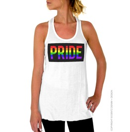 Gay Pride Rainbow Stripe Block Women's Flowy Racerback Tank Top Tee Shirt