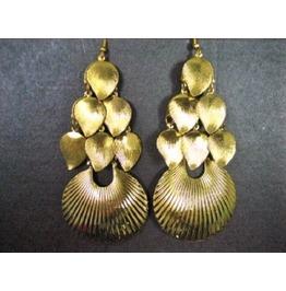 Exotic Bohemian Gold Plated Leaf Fan Shell Chandelier Drop Dangle Earrings