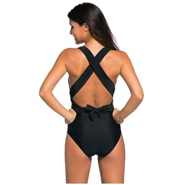 Women's Crisscross Ruched Bowknot One Piece Swimsuit